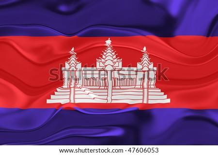 Flag of Cambodia, national symbol illustration clipart wavy - stock photo