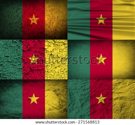 Flag of Cameroon with old texture.  illustration - stock photo