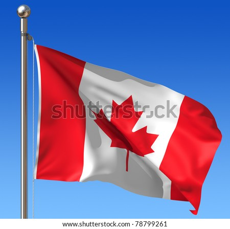 Flag of Canada against blue sky. Three dimensional rendering illustration. - stock photo