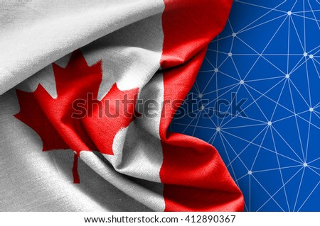 Flag of Canada on connections background - stock photo