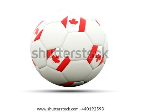 Flag of canada on football, isolated on white. 3D illustration - stock photo