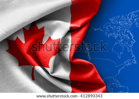 Flag of Canada on map background - stock photo