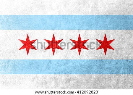Flag of Chicago, Illinois, painted on leather texture - stock photo