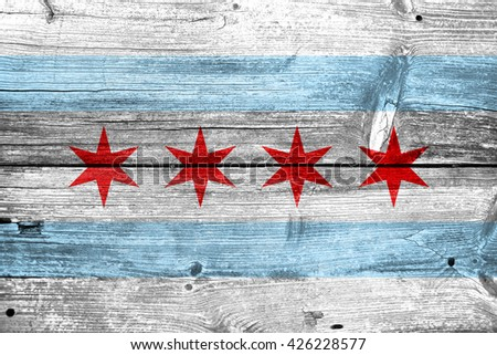 Flag of Chicago, Illinois, painted on old wood plank background - stock photo