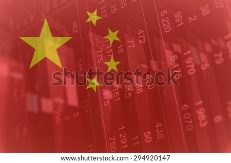 Flag of China. Financial data on background. - stock photo