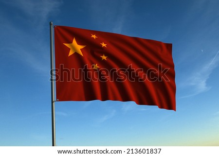 Flag of China, flying against a blue evening sky. - stock photo