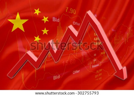 Flag of China with a chart of financial instruments for stock market analysis and a red downtrend arrow indicates the stock market enter recession period. - stock photo