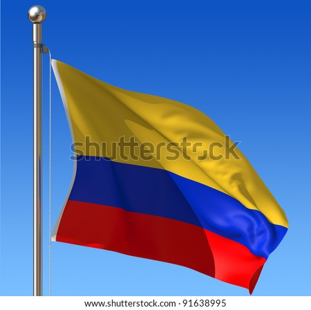 Flag of Colombia waving in the wind against blue sky. Three dimensional rendering illustration. - stock photo