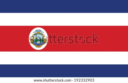 Flag of Costa Rica. Accurate dimensions, element proportions and colors. - stock photo