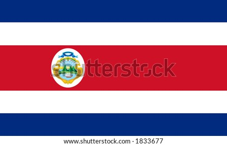 Flag of Costa Rica with Coat of Arms - stock photo
