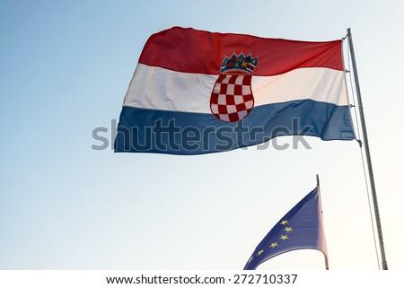 Flag of Croatia and the european union closeup - stock photo