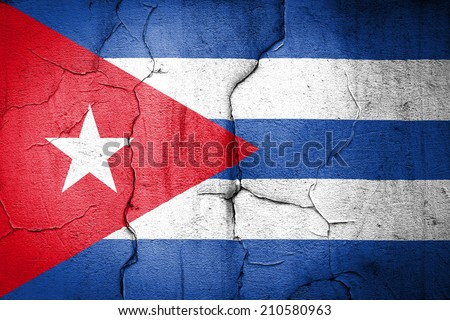 flag of Cuba Cuban painted on cracked wall - stock photo
