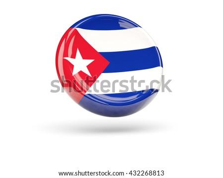 Flag of cuba, round icon. 3D illustration - stock photo