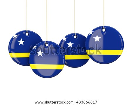 Flag of curacao, round labels on white. 3D illustration - stock photo