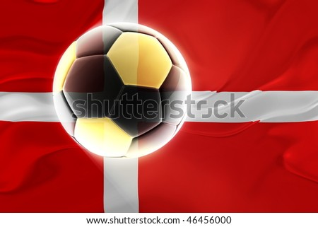 Flag of Denmark, national country symbol illustration wavy fabric sports soccer football - stock photo
