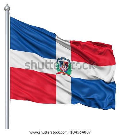 Flag of Dominican Republic with flagpole waving in the wind against white background - stock photo