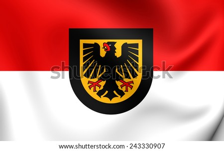 Flag of Dortmund, Germany. Close Up. - stock photo