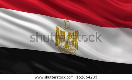 Flag of Egypt waving in the wind - stock photo