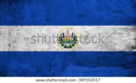 Flag of El Salvador painted on paper texture - stock photo