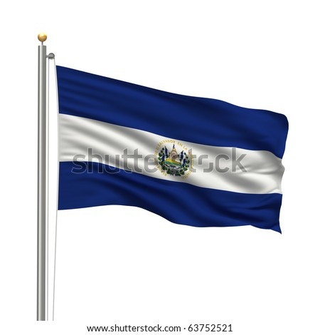 Flag of El Salvador with flag pole waving in the wind over white background - stock photo