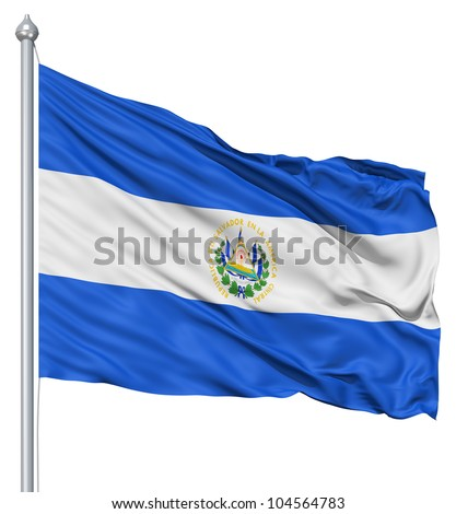 Flag of El Salvador with flagpole waving in the wind against white background - stock photo