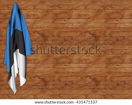 Flag of Estonia hanging on a hanger in a wall of wooden battens - stock photo