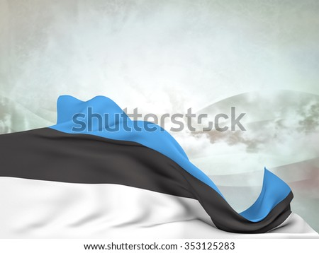 Flag of Estonia moved by the wind, leaving a useful space over abstract waves - stock photo