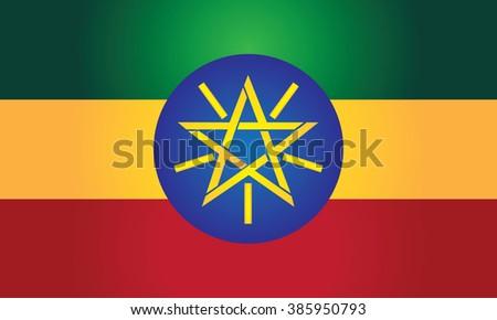 Flag of Ethiopia (Federal Democratic Republic of Ethiopia) - stock photo