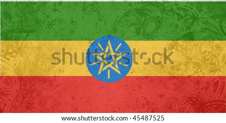 Flag of Ethiopia, national country symbol illustration rough grunge texture - stock photo