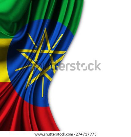 Flag of Ethiopia on silk curtain theater up white background - stock photo