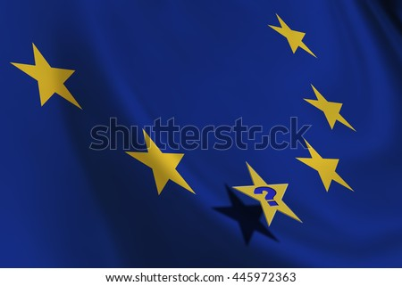 Flag of EU with yellow stars and a star with a question mark. An uncertainty in European Union provoked by the UK referendum on leaving the bloc and could stimulate countries to do the same. - stock photo