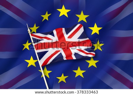 Flag of Europe and the flag of the United Kingdom - stock photo