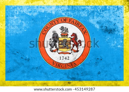 Flag of Fairfax County, Virginia, USA, with a vintage and old look - stock photo