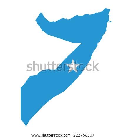 Flag of Federal Republic of Somalia overlaid on outline map isolated on white background  - stock photo