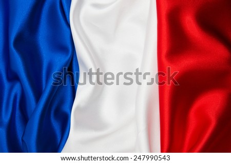 Flag of France on satin texture - stock photo