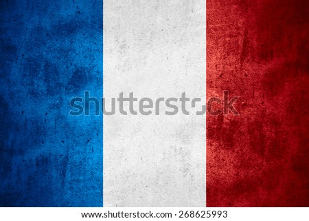 flag of France or French banner on rough pattern texture background - stock photo
