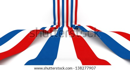 Flag of France rolling over white background - stock photo