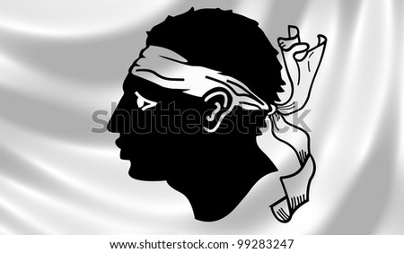Flag of French Corsica island waving in the wind detail - stock photo