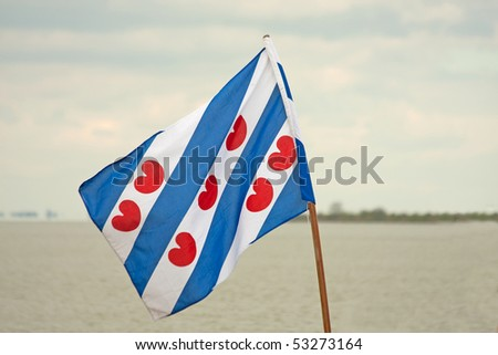 Flag of Friesland, a province of the Netherlands - stock photo