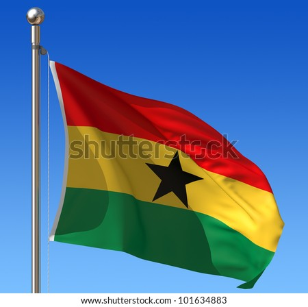 Flag of Ghana waving in the wind against blue sky. Three dimensional rendering illustration. - stock photo