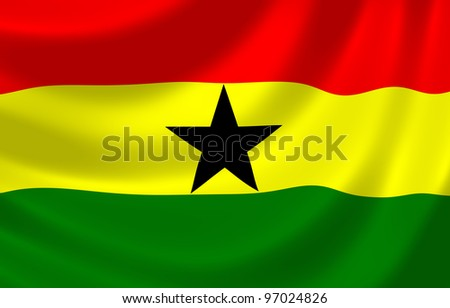 Flag of Ghana waving in the wind detail - stock photo