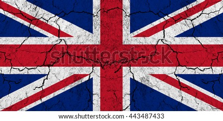 Flag of Great Britain on rugged wall full of scratches - metaphor of problem and crisis leading to collapse of country - brexit, independence of Scotland, negotiation with EU  - stock photo