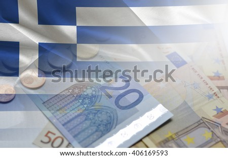 Flag of Greece and Euro - stock photo