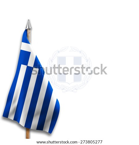 Flag of  Greece with National emblems  Coat of arms on the background - stock photo