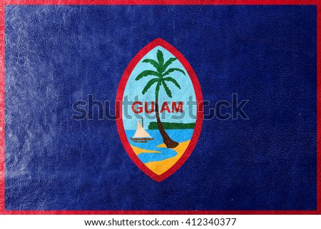Flag of Guam, painted on leather texture - stock photo