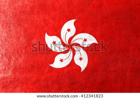Flag of Hong Kong, painted on leather texture - stock photo