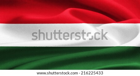flag of Hungary waving in the wind. Silk texture pattern - stock photo