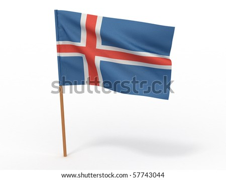 Flag of Iceland. 3d - stock photo