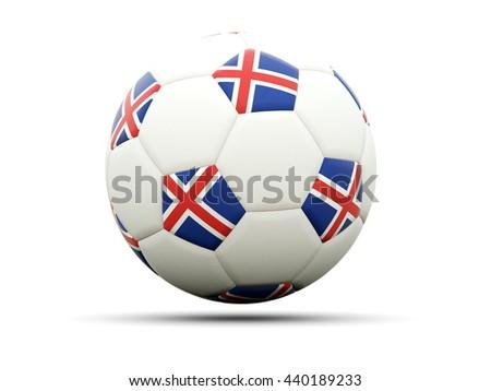 Flag of iceland on football, isolated on white. 3D illustration - stock photo