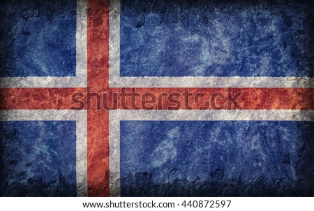 Flag of Iceland painted onto a rough wall - stock photo